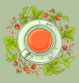 cup of strawberry tea vector image vector image