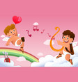 cupid valentine background vector image