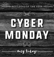 cyber monday sale banner on black wooden vector image vector image