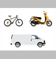 delivery transport set van truck bicycle and vector image