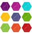 dischwashing liquid icons set 9 vector image