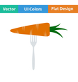 Flat design icon of Diet carrot on fork vector image