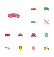 flat icons carriage streetcar automotive and vector image vector image