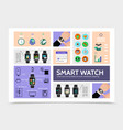 flat smart watch modern infographic template vector image