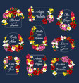 flowers wedding save date frames icons vector image vector image
