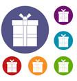 gift box with ribbon icons set vector image vector image