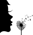 girl and dandelion vector image vector image