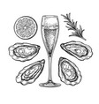 glass champagne and oysters vector image vector image