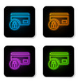 glowing neon credit card with lock icon isolated vector image vector image
