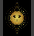 golden sun with sacred geometry in gold tattoo vector image