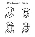 graduation and commencement icon set in thin line vector image vector image