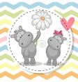 Greeting card with two Hippos vector image vector image