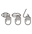 hand touching mouth nose or eye carries risk vector image vector image