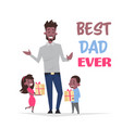 happy father day family holiday african daughter vector image