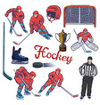 hockey set various objects and players vector image