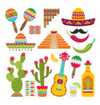 mexican elements set traditional mexican vector image vector image