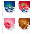 milk splash with strawberry raspberry blueberry vector image vector image