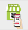 mobile scan qr code for payment to shopping store vector image vector image