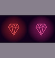 neon diamond in red and pink color vector image vector image