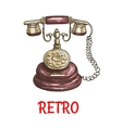 Old vintage retro phone color sketch vector image vector image