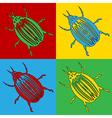 Pop art bug icons vector image vector image