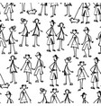 seamless background people doodles vector image vector image