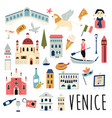 set famous symbols and landmarks venice vector image vector image