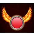 Shield with fire wings vector image vector image