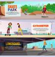skateboarding horizontal banners vector image vector image