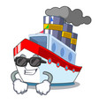 super cool aerial in cartoon cargo ship view vector image