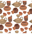tableware made clay handmade pottery seamless vector image vector image
