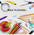 welcome back to school template with schools suppl vector image vector image