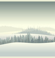 winter coniferous forest in the morning vector image vector image