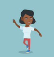 young cheerful african-american woman dancing vector image vector image