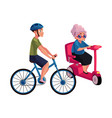 young man riding bicycle and old woman driving vector image vector image