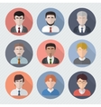 Different male faces in circle icons vector image