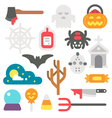 Flat design Halloween items set vector image
