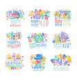 kid holidays happy birthday logo template vector image