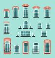 set of plastic or wooden window frames vector image