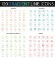 120 trendy gradient thin line icons set vector image vector image