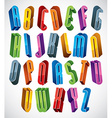 3d font tall thin letters vector image vector image