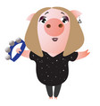 a cute piggy sings and plays on tambourine vector image vector image