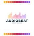 audio sound wave logo template stock design line vector image