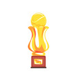 award tennis sport golden trophy cup cartoon vector image