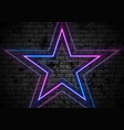 blue purple neon stars on grunge brick wall vector image vector image