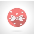 Bow tie and hearts round pink flat icon vector image
