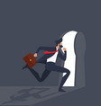businessman running key hole light vector image vector image
