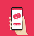 buy tickets online with a smartphone vector image vector image