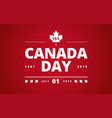 canada day greeting card red background vector image vector image