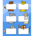 cartoon cats with board or card set vector image